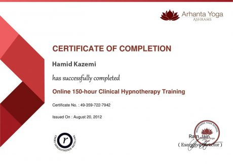 clinical hypnotherapy certificate 460x325 - مربیان یوگان
